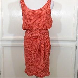 Joie Orange Print Silk Sleeveless Dress